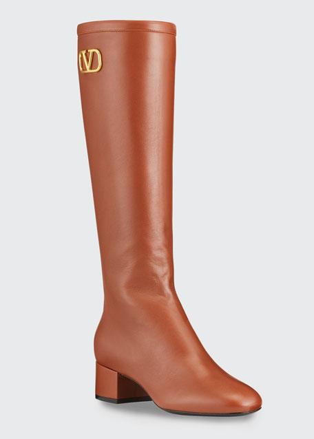 V Logo Napa Knee Boots