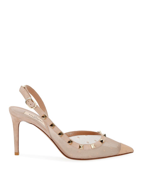 Rockstud 85mm Pizzo Pois Slingback Pumps