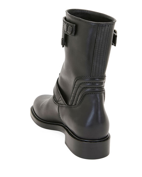 Biker Smooth Two-Buckle Boots