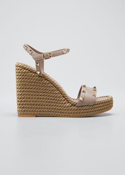 Rockstud Metallic Wedge Platform Sandals