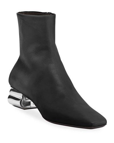 Typo Shiny Leather Booties