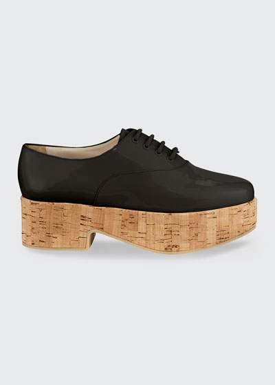 Viviane Patent Cork-Heel Oxfords