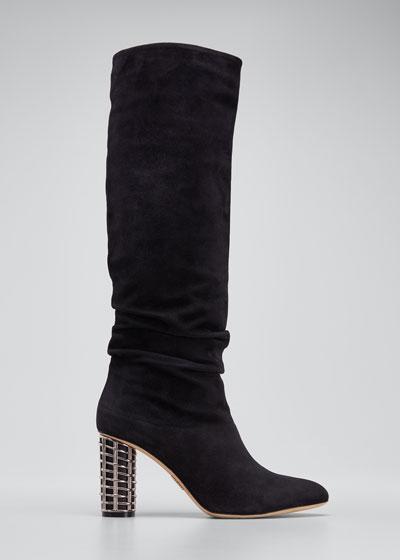 Suede Knee Boots with Metal Weave Heel