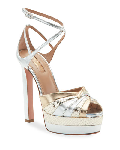 La Di Da Plateau Metallic Platform Sandals