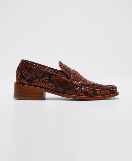 Britney Snake-Print Leather Loafers
