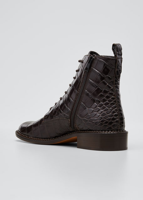 Cabria Embossed Lace-Up Booties