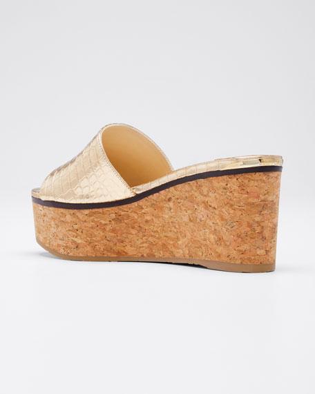 Deedee Metallic Cork Platform Sandals