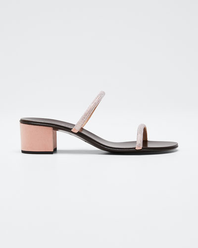 Suede & Crystal Slide Sandals