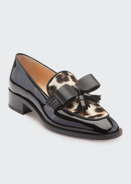 Carmela Patent Loafers with Leopard Calf Hair