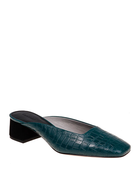 Image 1 of 1: Daisy Croc-Embossed Leather Slide Mules