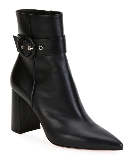 Leather Buckle Pointed-Toe Booties