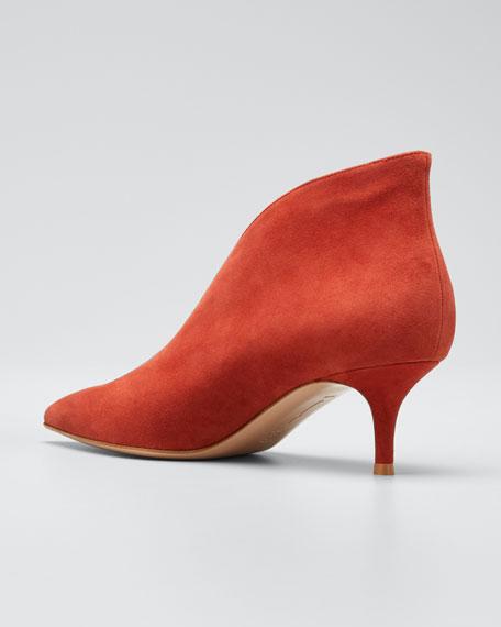 Suede V-Neck Kitten-Heel Booties