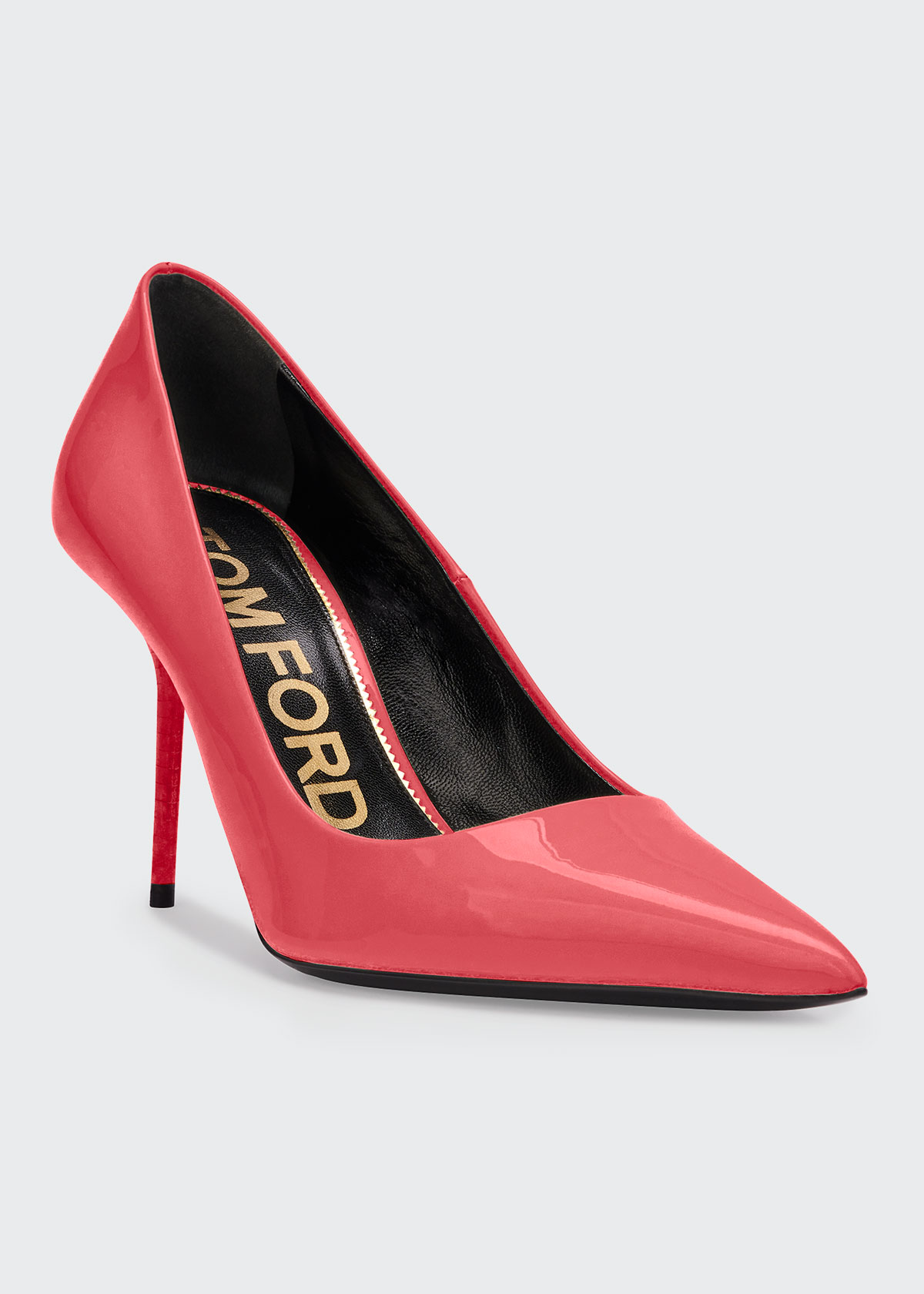 Tom Ford Patent Leather Pointed Pumps In Bright Red