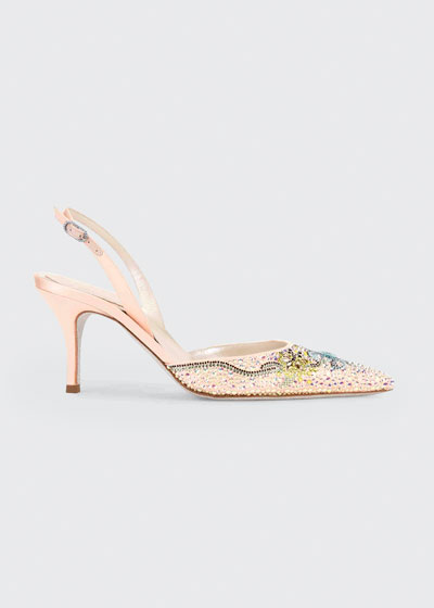 Beaded Satin Cocktail Slingback Pumps