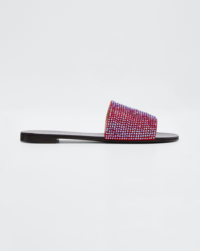 Nuvoroll Crystal-Studded Flat Slide Sandals