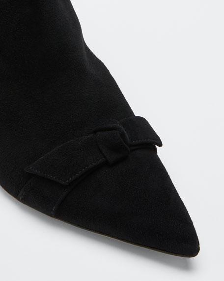 Clarita Suede Knotted Kitten-Heel Booties