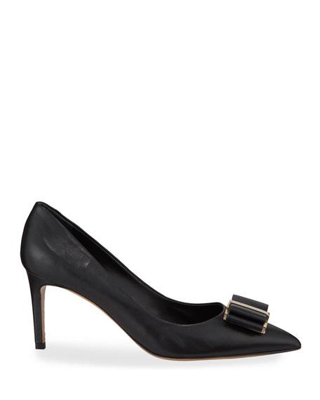 Zeri Mid-Heel Leather Bow Pumps