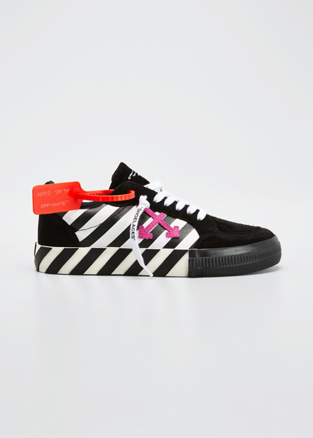 Arrow Stripe Mixed Leather Low-Top Sneakers