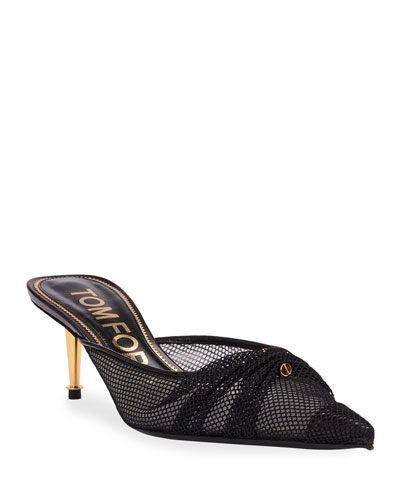 Piercing Mesh Pointed Mules
