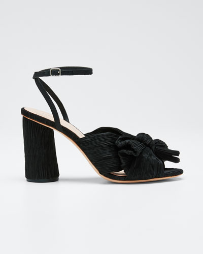 Camellia Pleated Knot Ankle-Strap Sandals