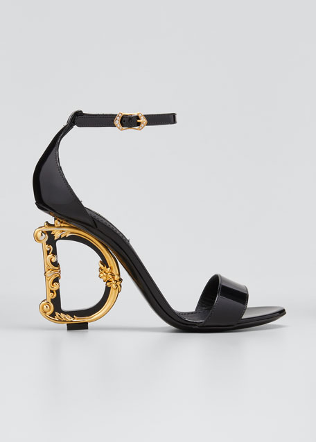 Patent Leather Sandals with Logo Heel