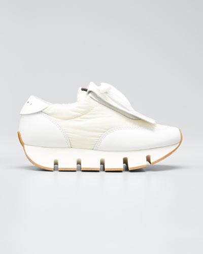Big Cut Fringed-Leather Kiltie Sneakers