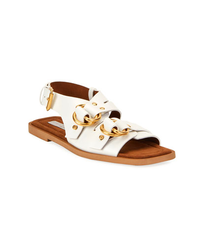 Faux-Leather Slingback Sandals
