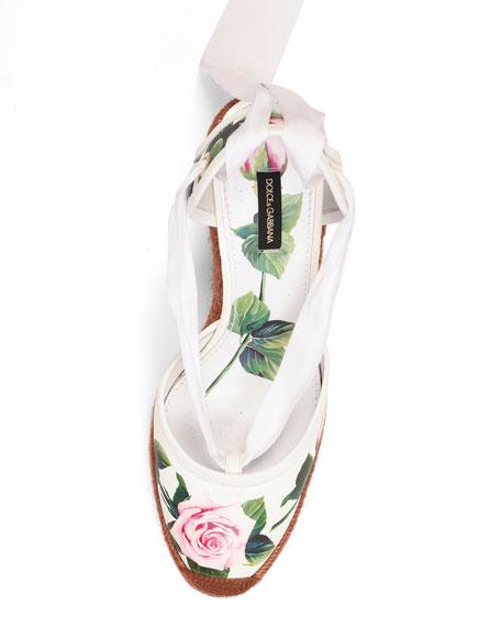 Floral Wrap Wedge Espadrilles