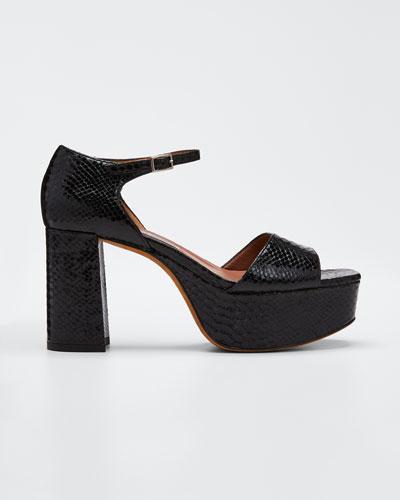 Patton Snake-Print Leather Platform 90mm Sandals