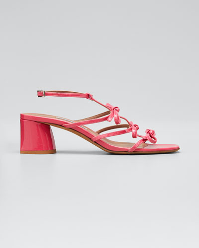 Covie Leather Bows Block-Heel Sandals