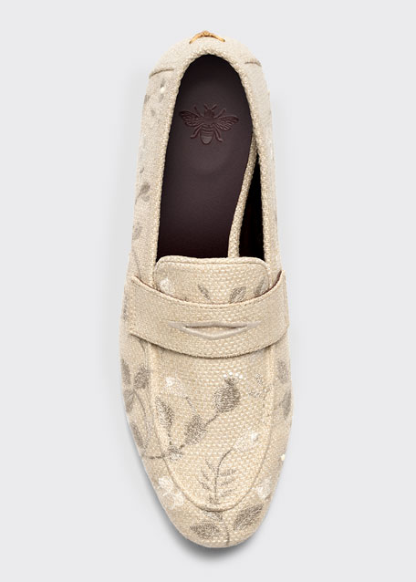 Embroidered Floral Flat Loafers