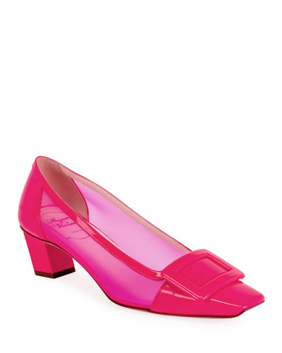 Belle Vivier 45mm Mesh/Patent Pumps