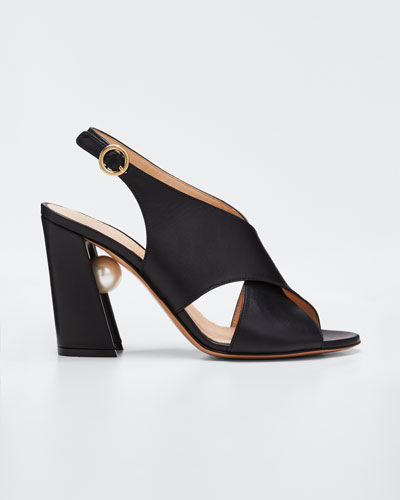 Miri Crisscross Slingback Sandals  Black