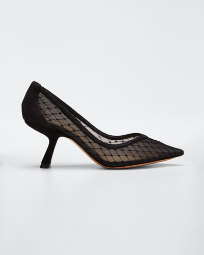 Lexi Mesh Pointed Pumps  Black