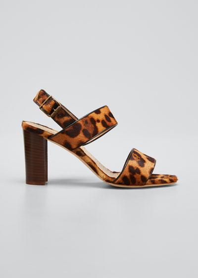 Khansf Leopard-Print Fur Slingback Sandals