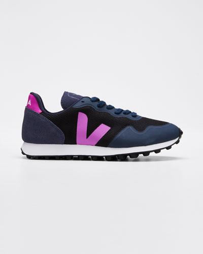 Suede and Mesh Runner Sneakers  Navy