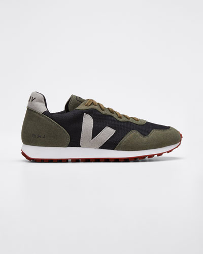 Suede and Mesh Runner Sneakers  Olive