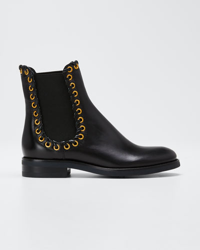 Sierra Calf Whipstitched Booties  Black