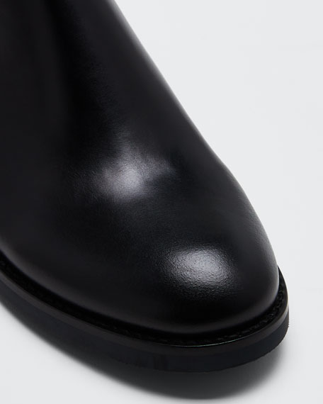 Sierra Calf Whipstitched Booties, Black