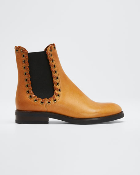 Sierra Calf Cuoio Whipstitched Booties, Light Brown