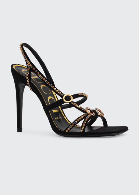 Carmen 105mm Suede Sandals with Crystals