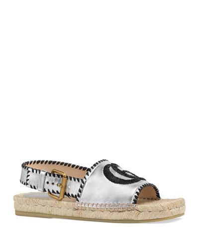 Pilar Square-Toe GG Espadrille Sandals