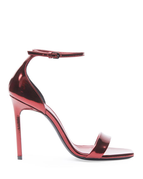 Leather Metallic Ankle Sandals