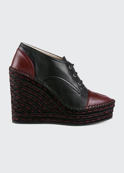 Pilar Leather Lace-Up Wedge Platform Espadrilles