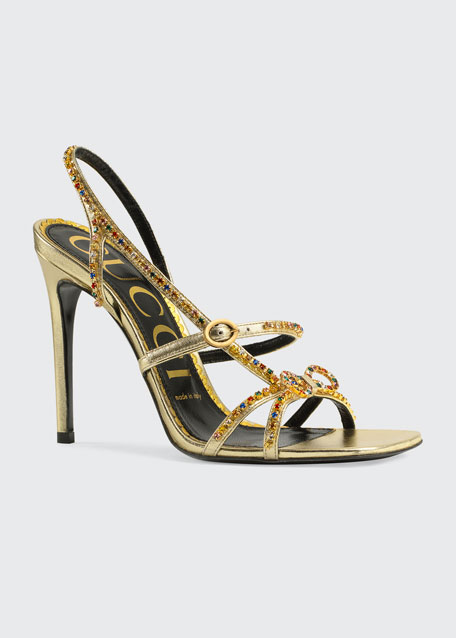 Carmen 105mm Leather Sandals with Crystals
