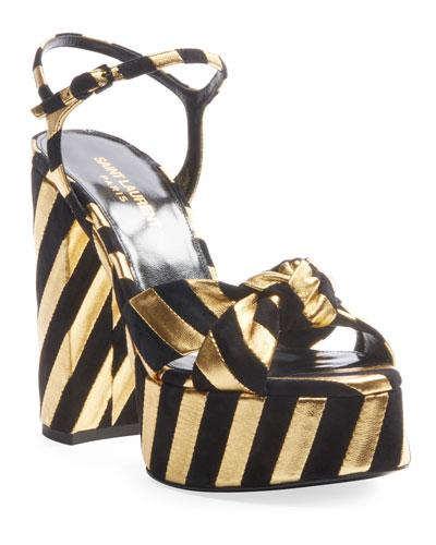 Bianca Metallic Stripe Platform Sandals