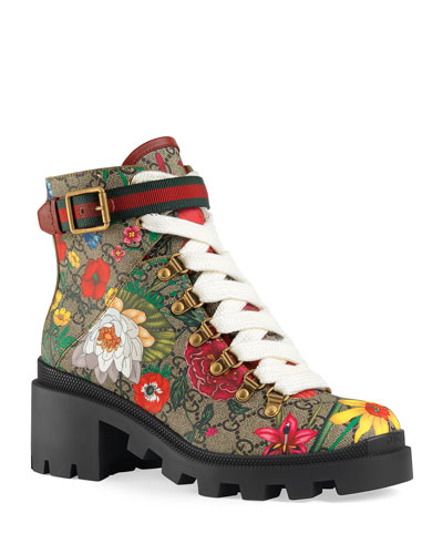 Trip 40mm Floral Canvas Hiker Boots