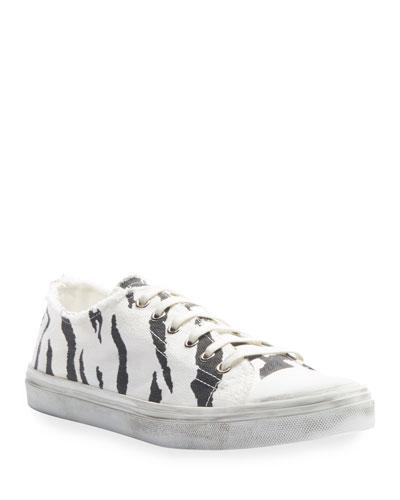 Bedford Zebra-Print Canvas Low-Top Sneakers