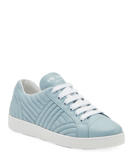 Quilted Leather Lace-Up Sneakers