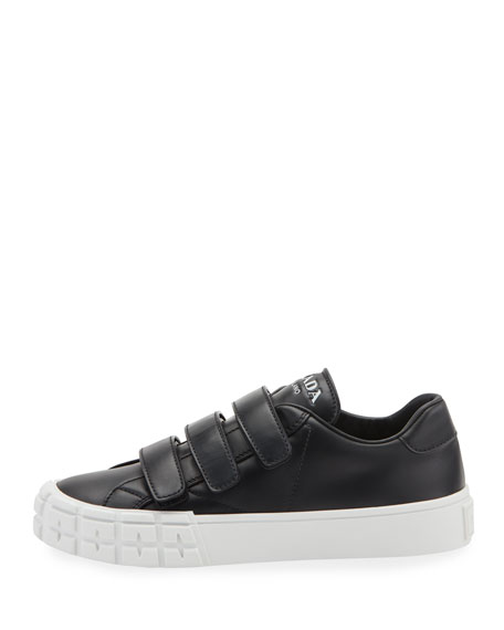 Leather Three-Strap Sneakers